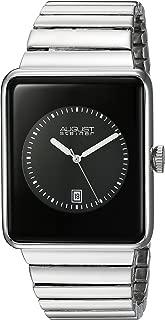 August Steiner Men's Electronic Technological Design Minimalist Watch - Rectangular Case with Dial + Bonus Date Window on Stainless Steel Bracelet
