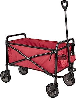 AmazonBasics - Carreta plegable para jardín y aire libre con bolsa de cubierta, rojo