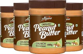 Alpino Organic Natural Peanut Butter Crunch 1.6 KG - Super Saver Pack [Unsweetened / Gluten Free / Non-GMO / Vegan (400 G,...