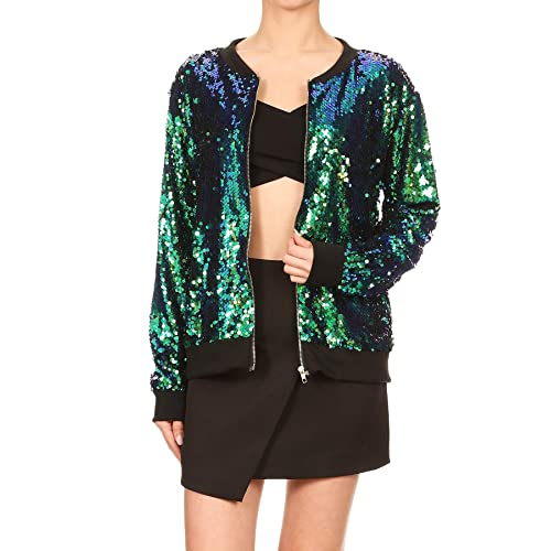 10924ba232da Anna-Kaci Womens Sequin Long Sleeve Front Zip Jacket with Ribbed Cuffs