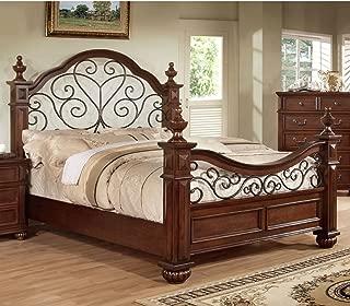Furniture of America Emmental Poster Bed with Scrolling Metal Design, California King, Antique Dark Oak