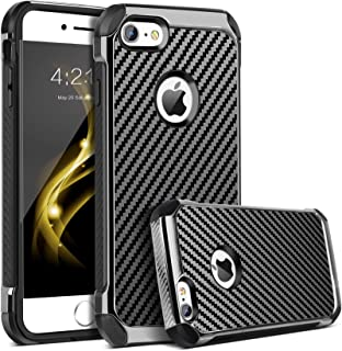 iPhone 6 Case, iPhone 6S Case, BENTOBEN 2 in 1 Cool Slim Hybrid Hard PC Cover Laminated with Carbon Fiber Chrome Anti-Scratch Shockproof Protective Case for iPhone 6/iPhone 6S (4.7 inch), Black