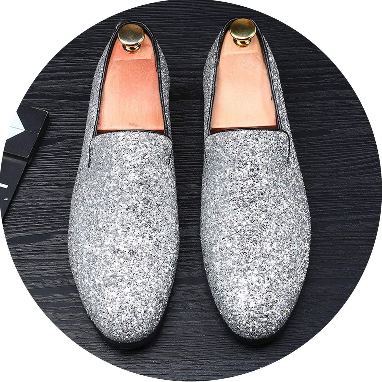 Glädje -Sexiga guld herr herr herr skor Casual Nightclub Party skor Slip -on guld Sequin bröllop herr Loafers Mocasin  butik försäljning försäljningsstället