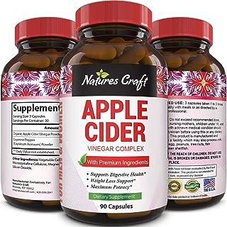 Apple Cider Vinegar Weight Loss Supplement Natural Detox Fat Burner Diet Pills Digestion Support Fast Acting Metabolism Booster Best Appetite Suppressant for Men and Women 90 Capsules