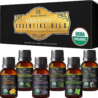Aromatherapy Essential Oils Set from Botanic Hearth - USDA Certified Organic Essential Oils Set- Lavender, Peppermint, Eucalyptus, Orange, Lemongrass & Tea Tree Oil, Great gift Set - 6-10 ml