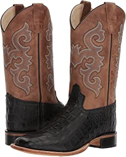 Old West Kids Boots - Black Croc Print Square Toe (Big Kid)