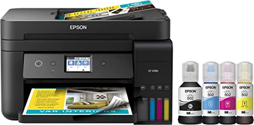 Epson EcoTank ET-4760 Wireless Color All-in-One Cartridge-Free Supertank Printer with Scanner, Copier, Fax, ADF and E...