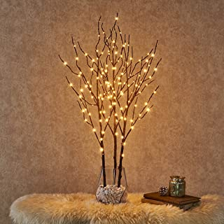 Hairui Pre Lit Artificial Brown Twig Branch with Fairy Lights 32in 150 LED Plug in..