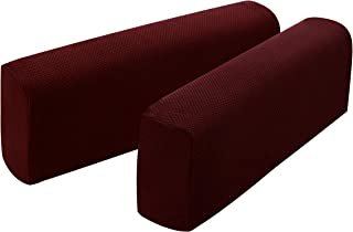 Hanhao Armrest Cover Ultra Thick and Soft Spandex Stretch Pixel Arm Cover for Recliners Sofas Chairs Loveseats Elastic Anti Slip Furniture Armrest Protector for Couch Set of 2 (Burgundy)