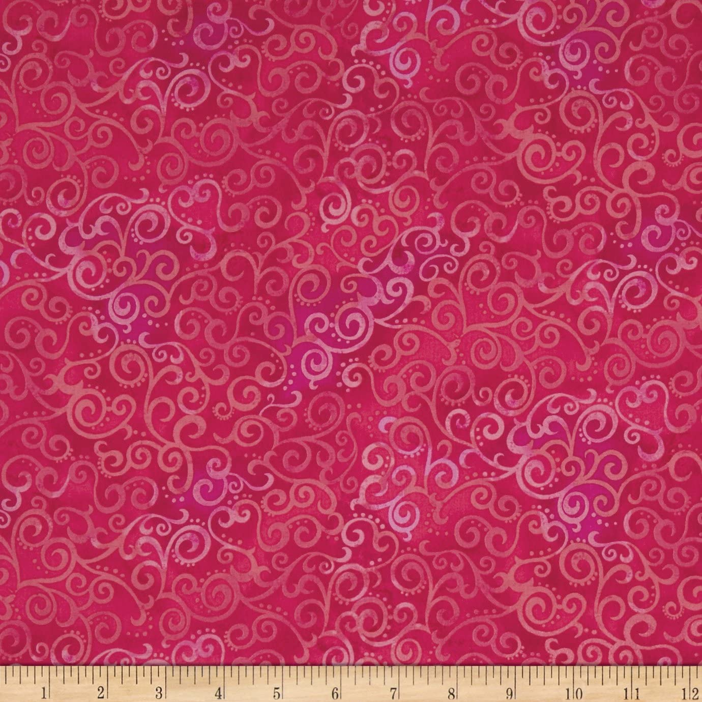 Quilting Treasures QT Quilt Fabrics Basics Ombre Scroll Blender Hot Pink Quilt Fabric by the Yard, Hot Pink