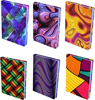 InstyleCraft Stretchable Fabric Book Cover - 6 Pattern Prints, for Medium to Jumbo Size Schoolbooks Hardcover,Textbooks, FITS Most Books Covers up to 9 x 11 Inches, No Adhesive, Reusable New Designs