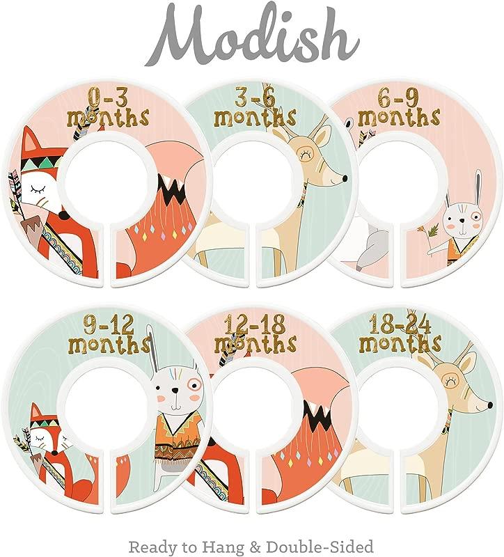 Modish Labels Baby Nursery Closet Dividers Closet Organizers Nursery Decor Baby Girl Woodland Tribal Fox Bear Deer Rabbit Pink Mint