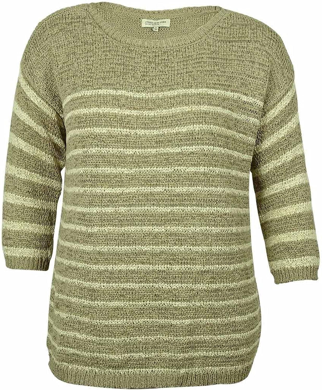 Jones New York Women's Plus Scoop Neck Striped Sweater