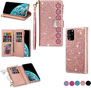 جراب محفظة جلدية من EnjoyCase لهاتف Samsung Galaxy Note 20 Ultra,9 فتحات للبطاقات تصميم نقش بالليزر لزهور سحاب لامع لامع إ...