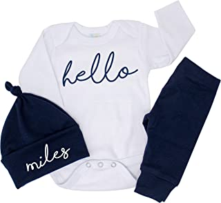 Hello Newborn Baby Boy Coming Home Outfit Personalized