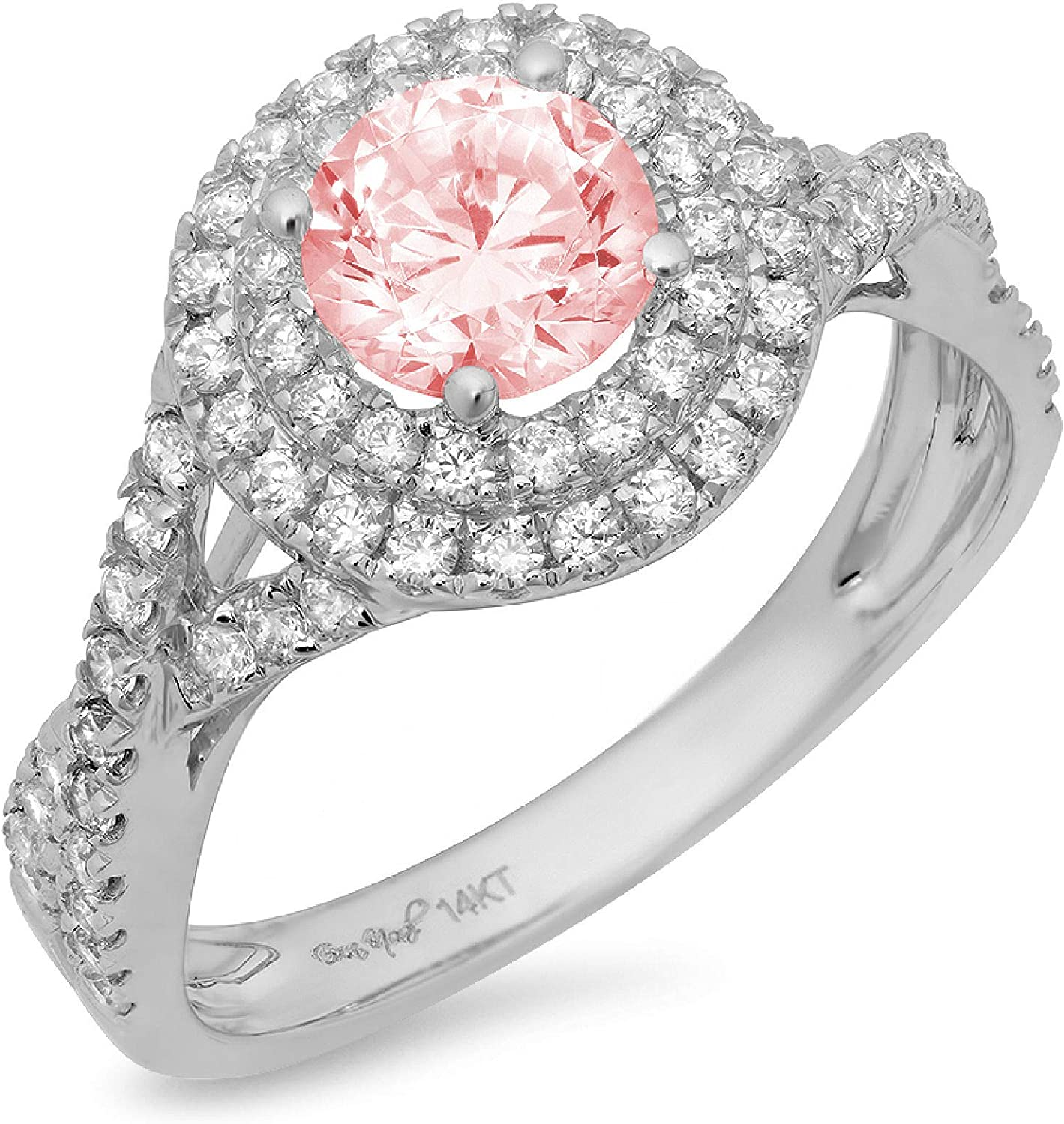 Clara Pucci 1.5 ct Round Cut Solitaire double halo Stunning Genuine Flawless Pink Simulated Diamond Gem Designer Modern Statement Accent Ring Solid 18K White Gold
