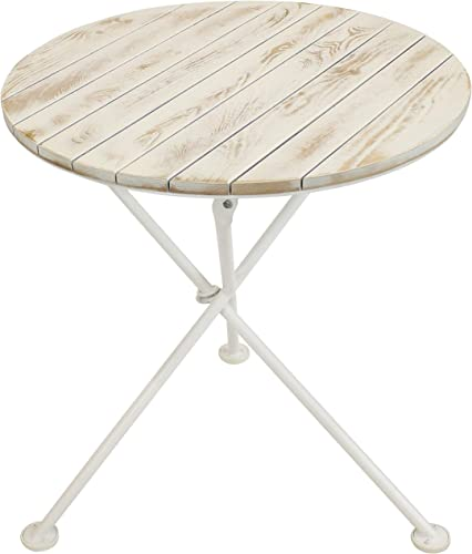 popular Sunnydaze high quality French Country European Chestnut Wood Round high quality Bistro Table - Portable Indoor/Outdoor White Folding Table - Ideal for Patio, Kitchen or Camp Site - 28-Inch Round outlet online sale
