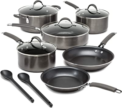 Cooking Light Multipurpose Use, Silicone Stay Cool Handle, Easy Clean, 12 Piece Cookware Set, Charcoal