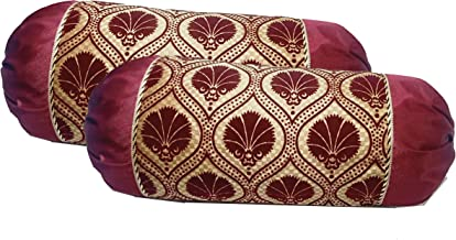 Loomsmith Lace Work Velvet Floral Print Maharaja Bolster Covers Set of 2 (Maroon)- 16X32 Inches