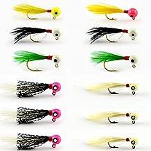 YAZHIDA Hand Tied Marabou Feather jig Heads 1/16 oz-1/32 oz Crappie jig Fishing Lure kit for Panfish,Sunfish,Bluegill,Perch,Walleye