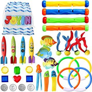 32 Pcs Diving Pool Toys Set with Bonus Storage Bag Includes Diving Rings, Diving Sticks, Toypedo Bandits , Diving Toy Ball...