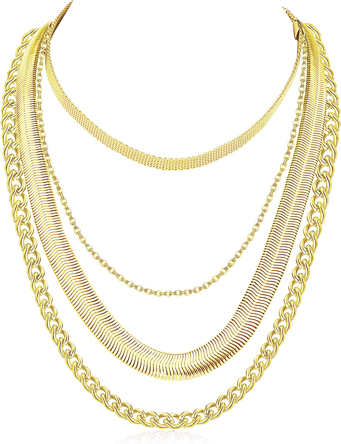 RnBLM JEWELRY 3-4 Pcs 14K Gold Plated Layered Necklaces for Women Minimalist Dainty Link Choker Chain Necklaces Set