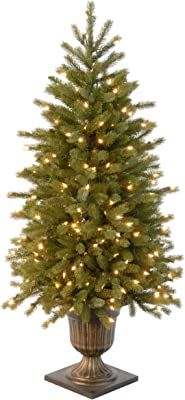 National Tree Company 'Feel Real' Pre-lit Artificial Christmas Tree For Entrances  Includes Pre-strung White Lights and Decorative Urn   Poly Jersey Fraser Fir - 4 ft