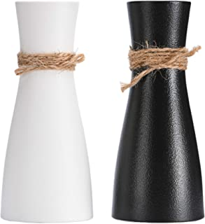 Decorative Vase for Flowers, 8' Tall White & Black Ceramic Vase with Differing Unique Rope Design for Home Décor, Living R...