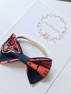 Chicago Bears baby nylon headband bow - great for showers, newborn babies, toddler girls - extra soft nylon headbands - Made in USA