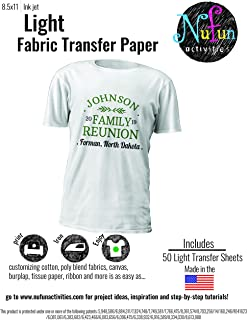 NuFun Activities Inkjet Printable Iron-On Heat Transfer Paper, Light Fabrics, 8.5 x 11 inch (50 Sheets) Wash Durable, Personalize, Long Lasting Transfer