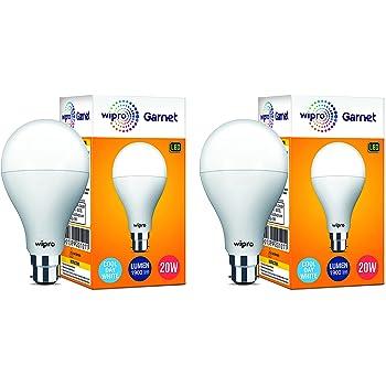 Wipro Garnet Base B22 20-Watt LED Bulb (Pack of 2, White)