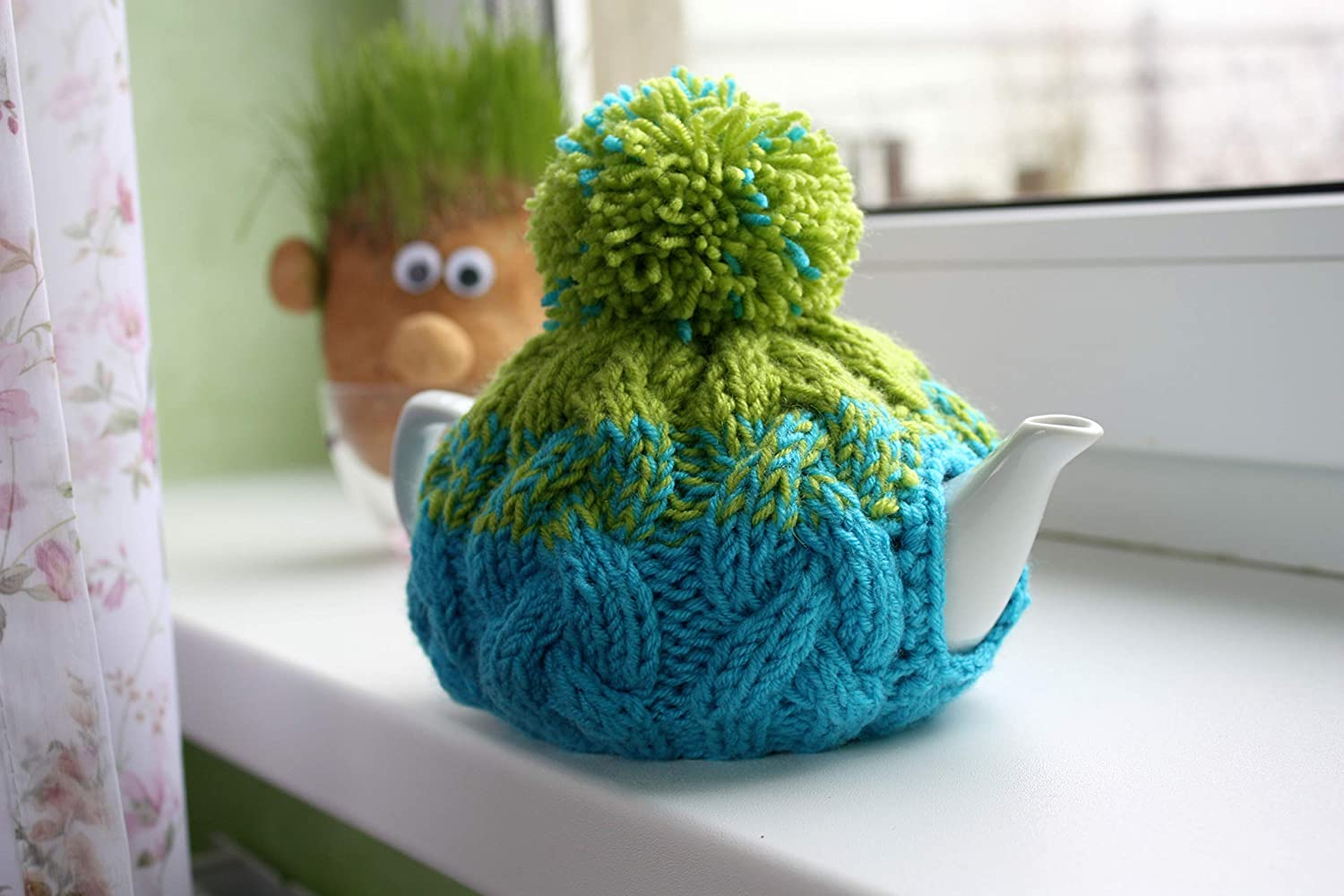 Knit tea cozy with pom small warmer teapot wool Some reservation cosy Fashion