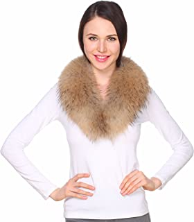 Ferand - Bufanda Estola del Cuello de Piel de Mapache Real, Desmontable Y Cálido, Ideal para Chaqueta de Abrigo en Inviern...