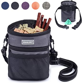 Vivaglory Dog Treat Bag, Hands Free Puppy Training Pouch with Adjustable Waistband, Reflective Shoulder Strap and Dog Waste Bag Dispenser for Training, Walks and Outings