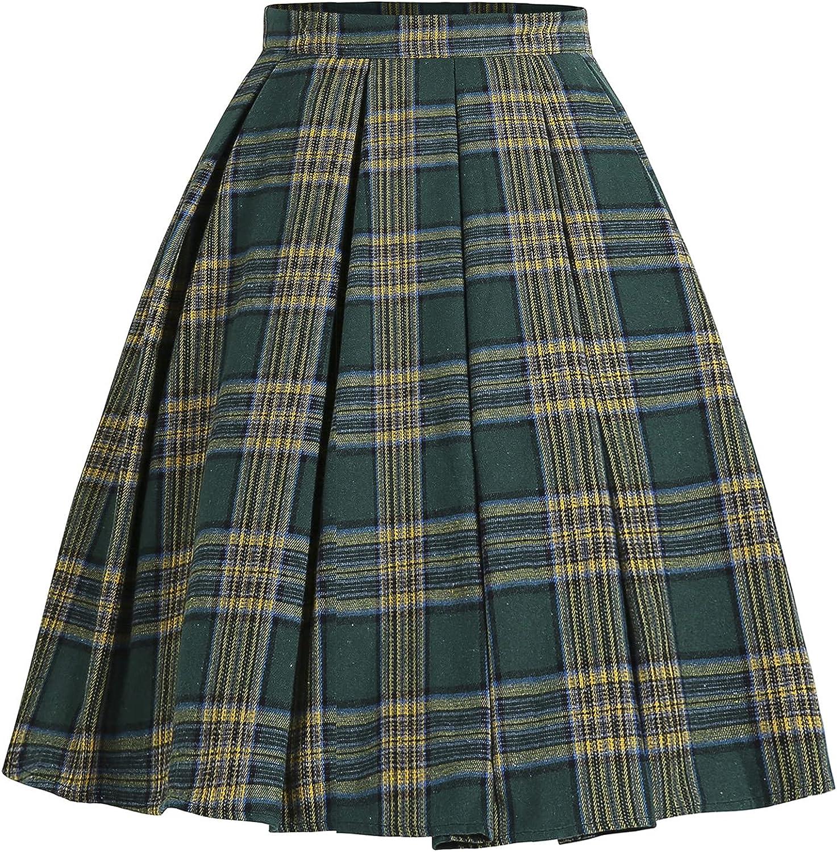 renvena Womens Pleated Vintage Skirts Basic Versatile Stretchy Flared Casual Mini Skater Skirt