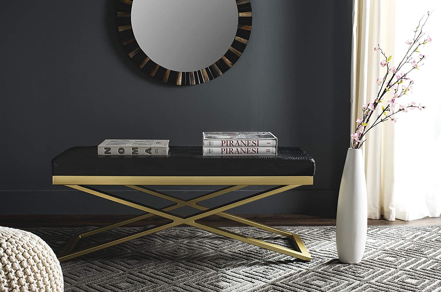 Safavieh Home Collection Acra Max 78% OFF Columbus Mall Modern Glam Gold Black Be Croc and