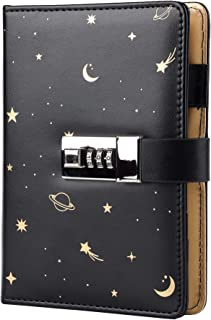 Starry Leather Journal with Lock, Refillable Paper Binder Password Diary, Secret A6 Writing Hardcover Notebook for Women G...