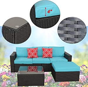 HTTH 4 Piece Outdoor Patio Furniture Sets Wicker Couch with Cushions and Coffee Table Garden Lawn Pool Backyard Outdoor Sofa Sets (Turquoise)