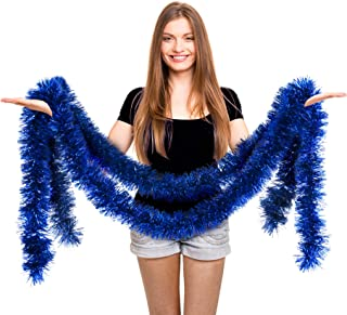 Christmas Tree Royal Blue Tinsel Garland Metallic Streamers Mermaid Under The Sea Birthday Celebrate a Holiday Happy New Years Eve Party Indoor and Outdoor Disco Decorations Supplies