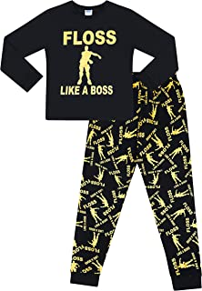 Floss Like a Boss All Over Gaming Black Gold Cotton Long Pajamas
