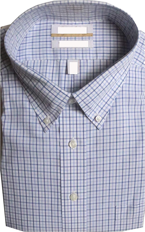 Gold Label Roundtree & Yorke Non-Iron Regular Button Down Check Dress Shirt G16A0128 Blue Multi