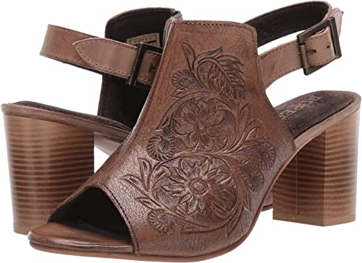 Beige Floral Tooled Leather