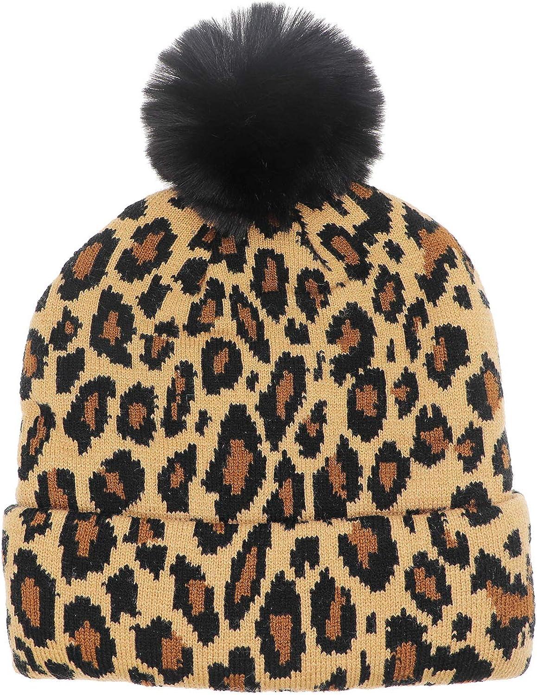 xperry Kids Baby Girls Winter Beanie Hat Leopard Print Knit Warm Pom Skull Cap Hat Toddler
