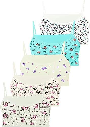 LOREZA ® 5 Brassières en Coton pour Fille sous-vêtements Soutien-Gorge de Sport Tailles 10 à 15 Ans