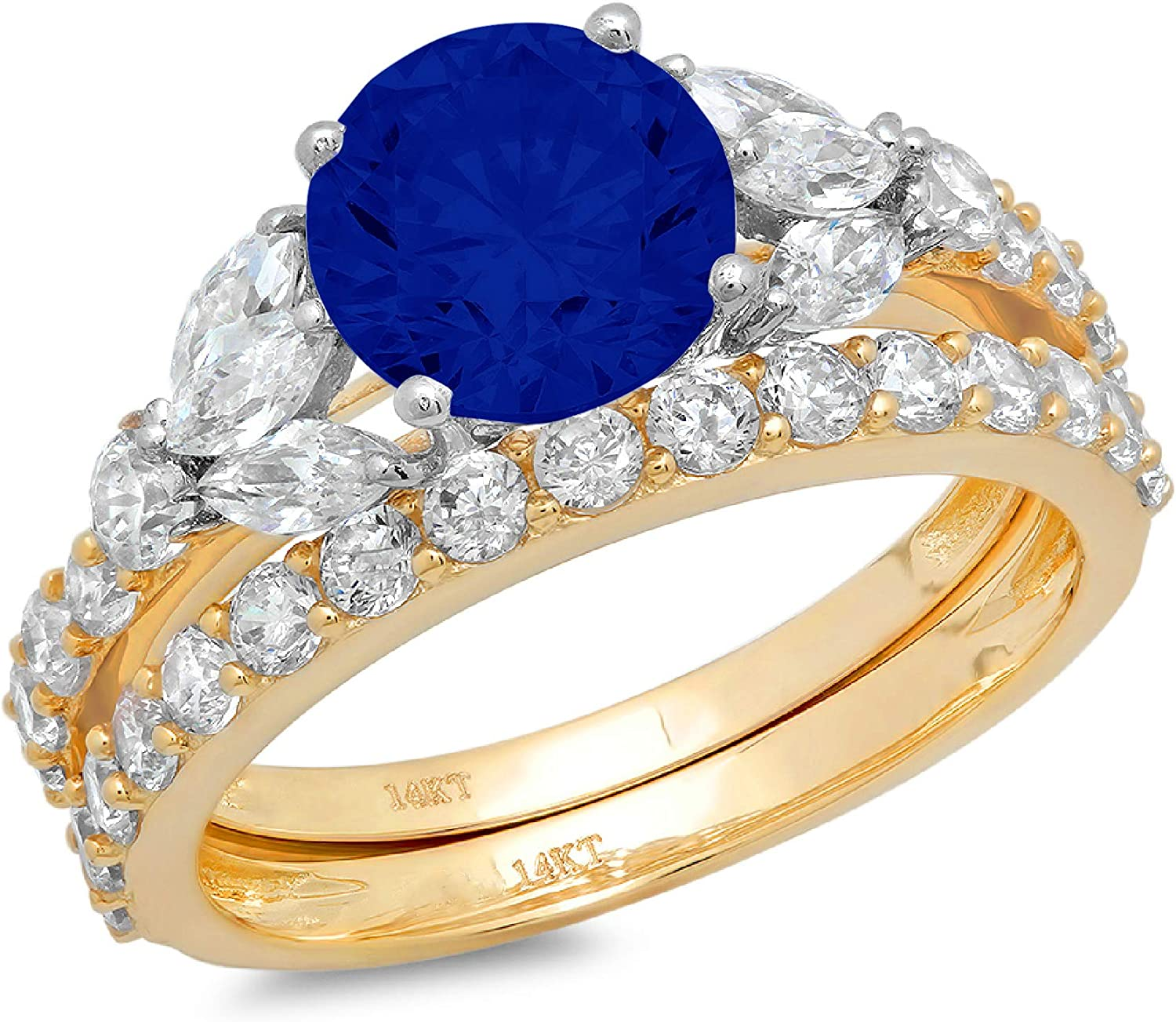 2.66ct Round Marquise Cut Solitaire 3 stone With Accent Ideal Flawless Simulated CZ Blue Sapphire Engagement Promise Designer Anniversary Wedding Bridal ring band set 14k 2 tone Gold