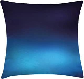 Ambesonne Navy Throw Pillow Cushion Cover, Ombre Style Deep Sea Ocean Underwater Themed Digital Colored Graphic Design Art Print, Decorative Square Accent Pillow Case, 18