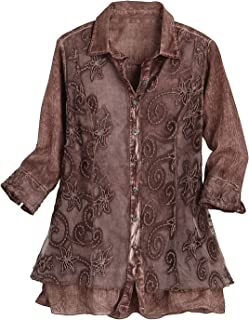 Women's Lavish Lace Layered Button Down Blouse - Cotton