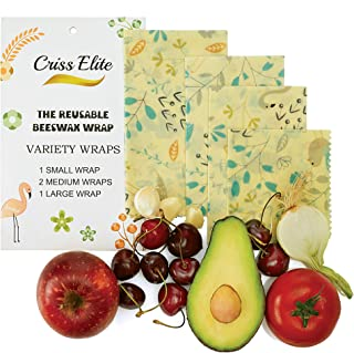 Criss Elite Beeswax Wrap Food Storage 4 Pack - Reusable, Eco-Friendly, Bees Wax Wraps For Sandwich, Plastic Free, Non-Toxic