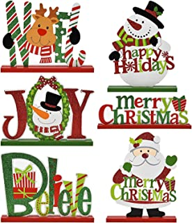 Gift Boutique 6 Christmas Table Decorations for Dinner Party Coffee Table Snowman Santa Reindeer Noel Joy Believe Merry Christmas Happy Holidays Centerpiece