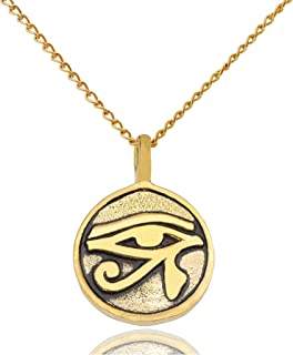 Vietguild Egyptian Eye of Ra Horus Silver Pewter Gold Brass Charm Necklace Pendant Jewelry